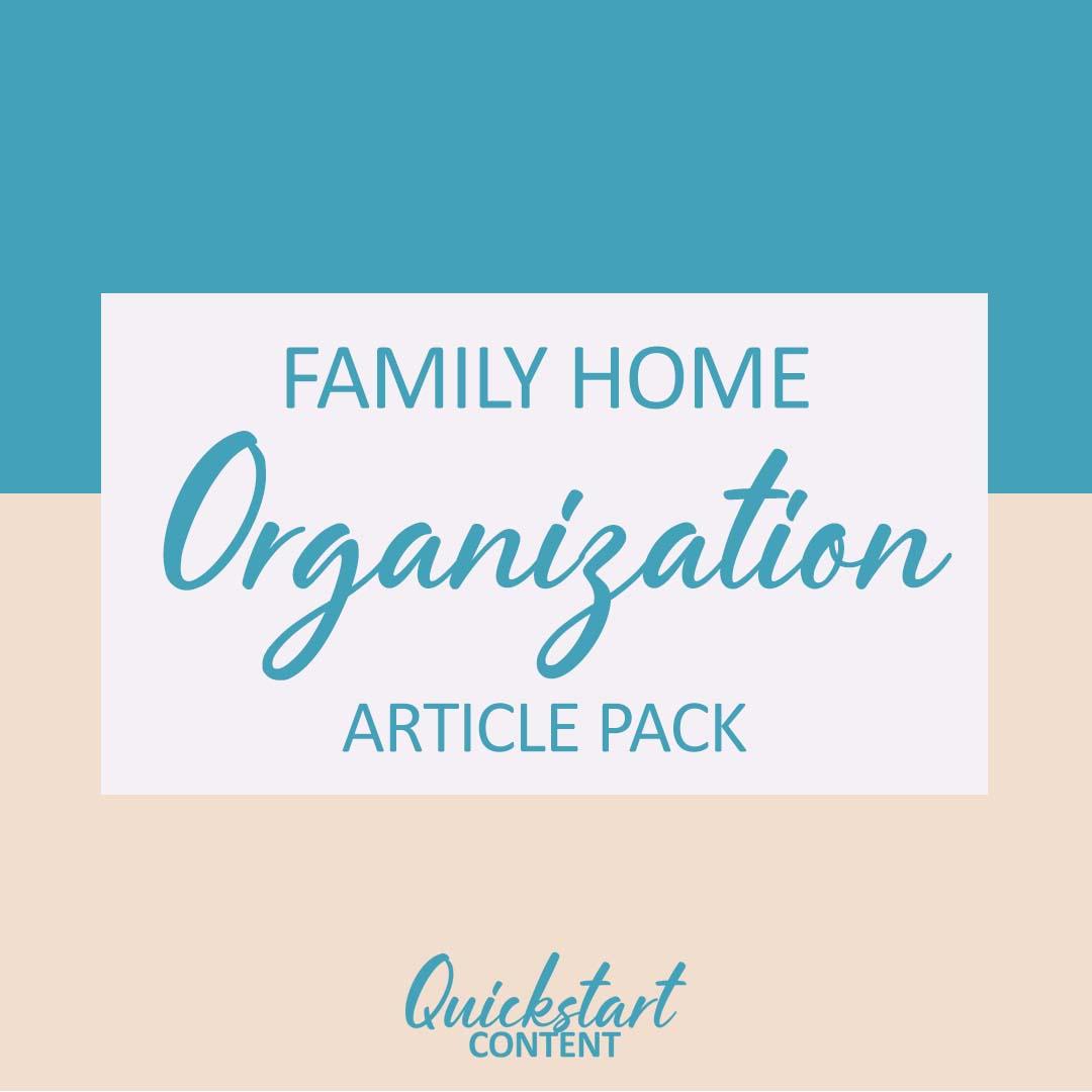 family home organization plr articles